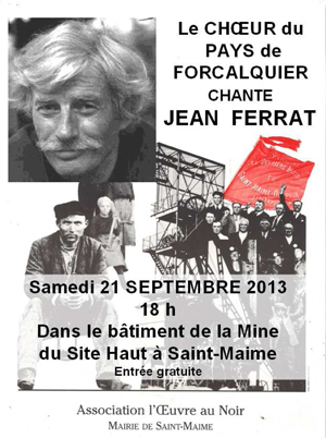 Affiche du concert Jean Ferrat par le Chœur du Pays de Forcalquier